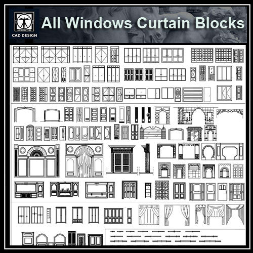 All Windows Curtain Blocks - CAD Design | Download CAD Drawings | AutoCAD Blocks | AutoCAD Symbols | CAD Drawings | Architecture Details│Landscape Details | See more about AutoCAD, Cad Drawing and Architecture Details
