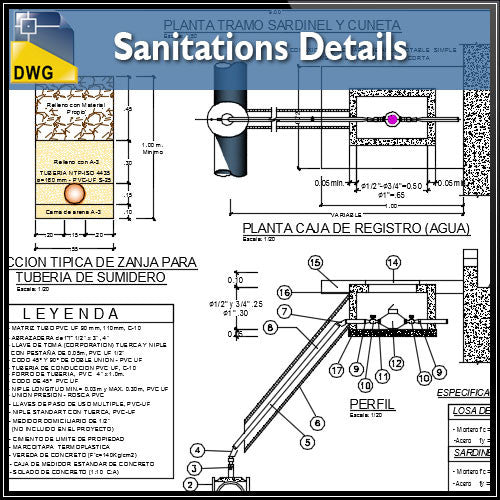 Sanitations Detailsl dwg files - CAD Design | Download CAD Drawings | AutoCAD Blocks | AutoCAD Symbols | CAD Drawings | Architecture Details│Landscape Details | See more about AutoCAD, Cad Drawing and Architecture Details