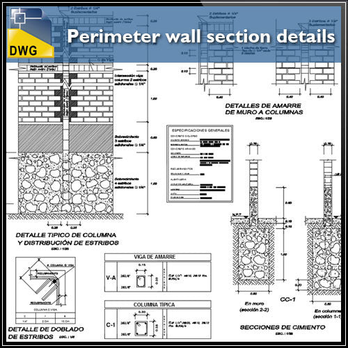 Perimeter wall section design drawing - CAD Design | Download CAD Drawings | AutoCAD Blocks | AutoCAD Symbols | CAD Drawings | Architecture Details│Landscape Details | See more about AutoCAD, Cad Drawing and Architecture Details