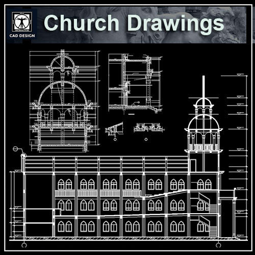 Cathedrals and Church 4 - CAD Design | Download CAD Drawings | AutoCAD Blocks | AutoCAD Symbols | CAD Drawings | Architecture Details│Landscape Details | See more about AutoCAD, Cad Drawing and Architecture Details