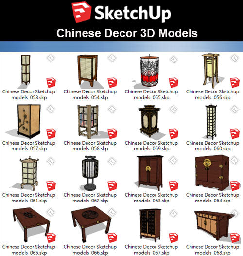 【Sketchup 3D Models】44 Types of Chinese Decor Elements Sketchup models V.2