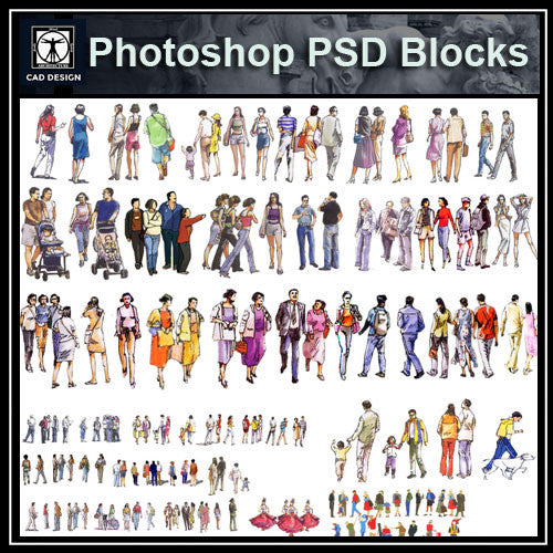 Hand-painted PSD People Blocks 1 - CAD Design | Download CAD Drawings | AutoCAD Blocks | AutoCAD Symbols | CAD Drawings | Architecture Details│Landscape Details | See more about AutoCAD, Cad Drawing and Architecture Details
