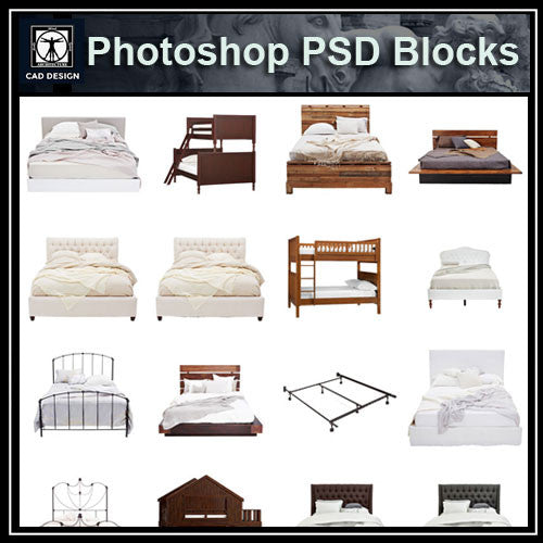 Photoshop PSD Bed Blocks V2 - CAD Design | Download CAD Drawings | AutoCAD Blocks | AutoCAD Symbols | CAD Drawings | Architecture Details│Landscape Details | See more about AutoCAD, Cad Drawing and Architecture Details