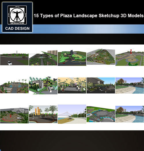 【Sketchup 3D Models】15 Types of Plaza Landscape Sketchup 3D Models  V.2 - CAD Design | Download CAD Drawings | AutoCAD Blocks | AutoCAD Symbols | CAD Drawings | Architecture Details│Landscape Details | See more about AutoCAD, Cad Drawing and Architecture Details