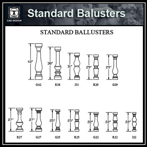 Free CAD Details-Standard Balusters - CAD Design | Download CAD Drawings | AutoCAD Blocks | AutoCAD Symbols | CAD Drawings | Architecture Details│Landscape Details | See more about AutoCAD, Cad Drawing and Architecture Details
