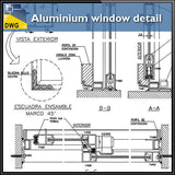Aluminium window detail and drawing in autocad dwg files