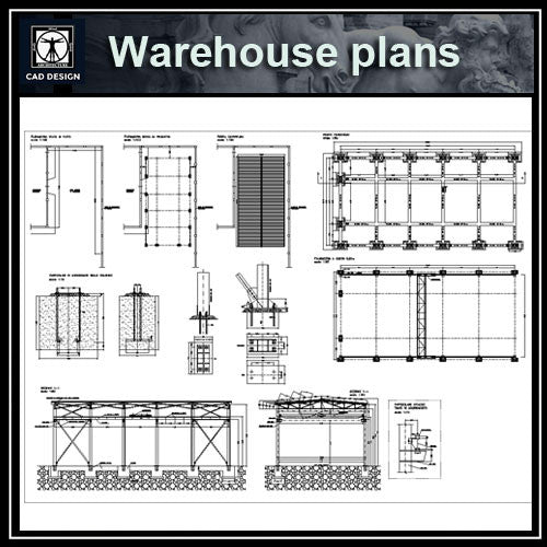 Warehouse plans - CAD Design | Download CAD Drawings | AutoCAD Blocks | AutoCAD Symbols | CAD Drawings | Architecture Details│Landscape Details | See more about AutoCAD, Cad Drawing and Architecture Details
