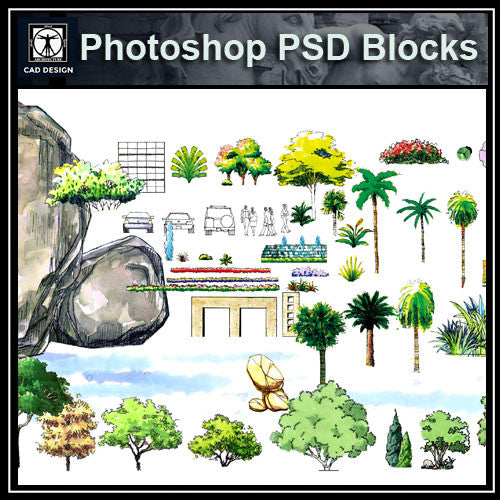Hand-painted PSD Landscape elevation 1 - CAD Design | Download CAD Drawings | AutoCAD Blocks | AutoCAD Symbols | CAD Drawings | Architecture Details│Landscape Details | See more about AutoCAD, Cad Drawing and Architecture Details