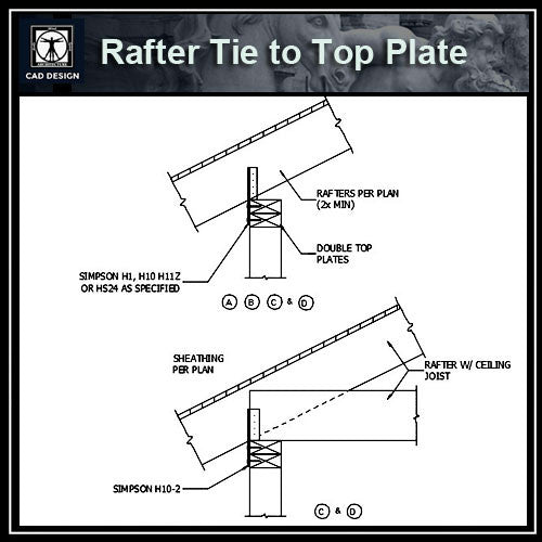 Free CAD Details-Rafter Tie to Top Plate
