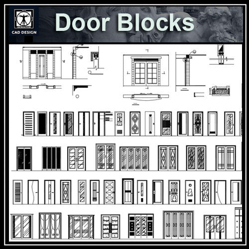 Door design blocks 1 - CAD Design | Download CAD Drawings | AutoCAD Blocks | AutoCAD Symbols | CAD Drawings | Architecture Details│Landscape Details | See more about AutoCAD, Cad Drawing and Architecture Details