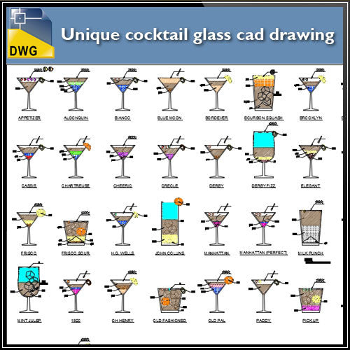 Unique cocktail glass cad drawing