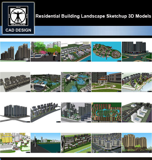 【Sketchup 3D Models】20 Types of Residential Building Landscape Sketchup 3D Models  V.8 - CAD Design | Download CAD Drawings | AutoCAD Blocks | AutoCAD Symbols | CAD Drawings | Architecture Details│Landscape Details | See more about AutoCAD, Cad Drawing and Architecture Details