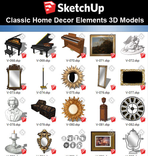 【Sketchup 3D Models】32 Types of Home Decor Elements Sketchup models V.3 - CAD Design | Download CAD Drawings | AutoCAD Blocks | AutoCAD Symbols | CAD Drawings | Architecture Details│Landscape Details | See more about AutoCAD, Cad Drawing and Architecture Details