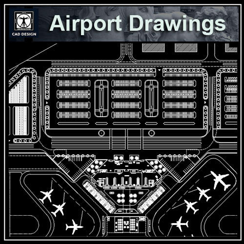 Airport Cad Drawings 1 - CAD Design | Download CAD Drawings | AutoCAD Blocks | AutoCAD Symbols | CAD Drawings | Architecture Details│Landscape Details | See more about AutoCAD, Cad Drawing and Architecture Details