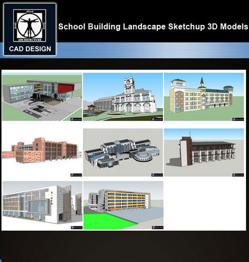 【Sketchup 3D Models】8 Types of School Design Sketchup 3D Models  V.9 - CAD Design | Download CAD Drawings | AutoCAD Blocks | AutoCAD Symbols | CAD Drawings | Architecture Details│Landscape Details | See more about AutoCAD, Cad Drawing and Architecture Details