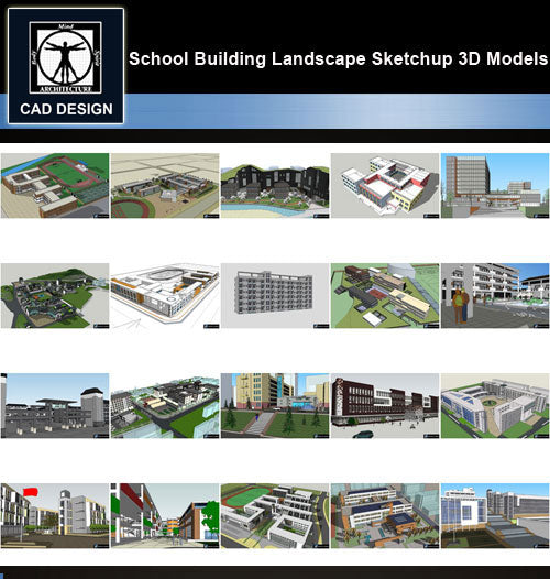 【Sketchup 3D Models】20 Types of School Design Sketchup 3D Models  V.4