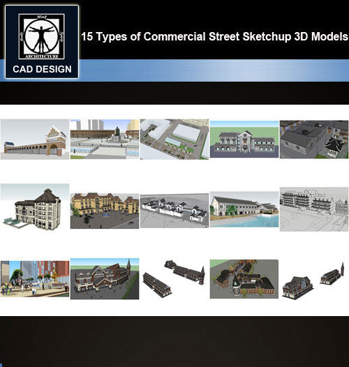 【Sketchup 3D Models】15 Types of Commercial Street Design Sketchup 3D Models  V.3 - CAD Design | Download CAD Drawings | AutoCAD Blocks | AutoCAD Symbols | CAD Drawings | Architecture Details│Landscape Details | See more about AutoCAD, Cad Drawing and Architecture Details