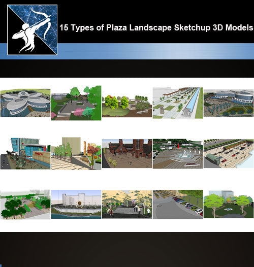 【Sketchup 3D Models】15 Types of Plaza Landscape Sketchup 3D Models  V.1 - CAD Design | Download CAD Drawings | AutoCAD Blocks | AutoCAD Symbols | CAD Drawings | Architecture Details│Landscape Details | See more about AutoCAD, Cad Drawing and Architecture Details