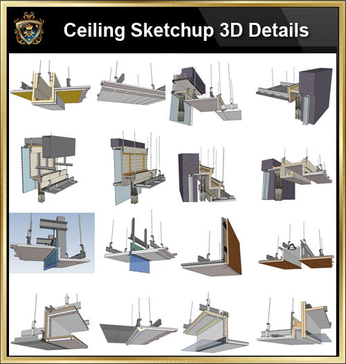 【Best 70 Types Ceiling Sketchup 3D Detail Models】 (Recommanded!!👍👍)