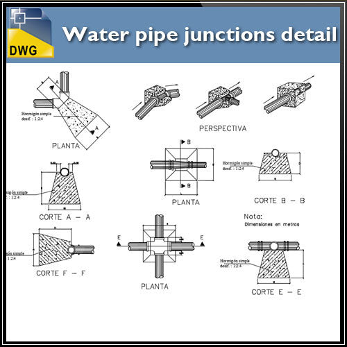Water pipe junctions detail - CAD Design | Download CAD Drawings | AutoCAD Blocks | AutoCAD Symbols | CAD Drawings | Architecture Details│Landscape Details | See more about AutoCAD, Cad Drawing and Architecture Details