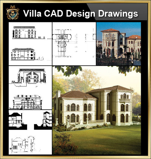 ★【Villa CAD Design,Details Project V.2-Spanish Marbella Style】Chateau,Manor,Mansion,Villa@Autocad Blocks,Drawings,CAD Details,Elevation - CAD Design | Download CAD Drawings | AutoCAD Blocks | AutoCAD Symbols | CAD Drawings | Architecture Details│Landscape Details | See more about AutoCAD, Cad Drawing and Architecture Details