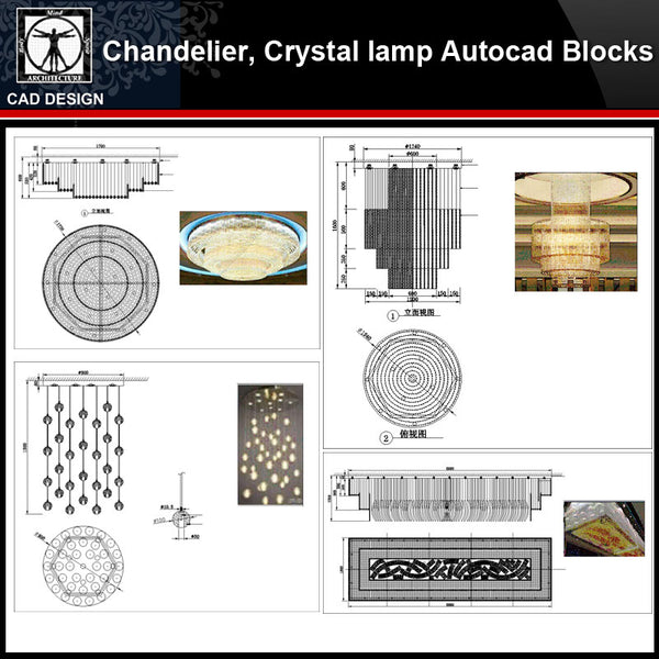 ★【 Modern crystal headlights,Chandelier, Crystal lamp Autocad Blocks】-All kinds of Autocad Blocks Collection - CAD Design | Download CAD Drawings | AutoCAD Blocks | AutoCAD Symbols | CAD Drawings | Architecture Details│Landscape Details | See more about AutoCAD, Cad Drawing and Architecture Details