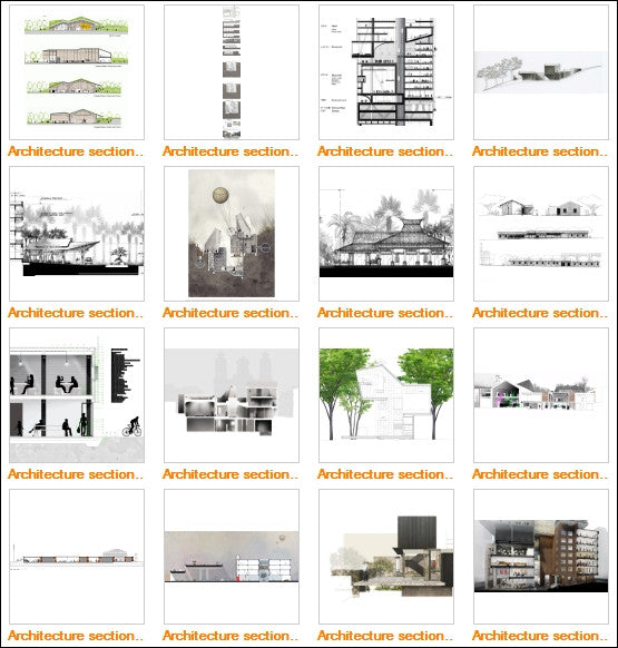 Architectural sections and elevations Gallery V.1 - CAD Design | Download CAD Drawings | AutoCAD Blocks | AutoCAD Symbols | CAD Drawings | Architecture Details│Landscape Details | See more about AutoCAD, Cad Drawing and Architecture Details