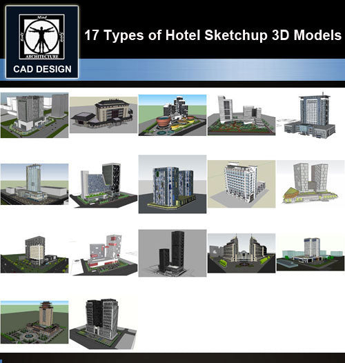 【Sketchup 3D Models】17 Types of Hotel Sketchup 3D Models  V.3 - CAD Design | Download CAD Drawings | AutoCAD Blocks | AutoCAD Symbols | CAD Drawings | Architecture Details│Landscape Details | See more about AutoCAD, Cad Drawing and Architecture Details