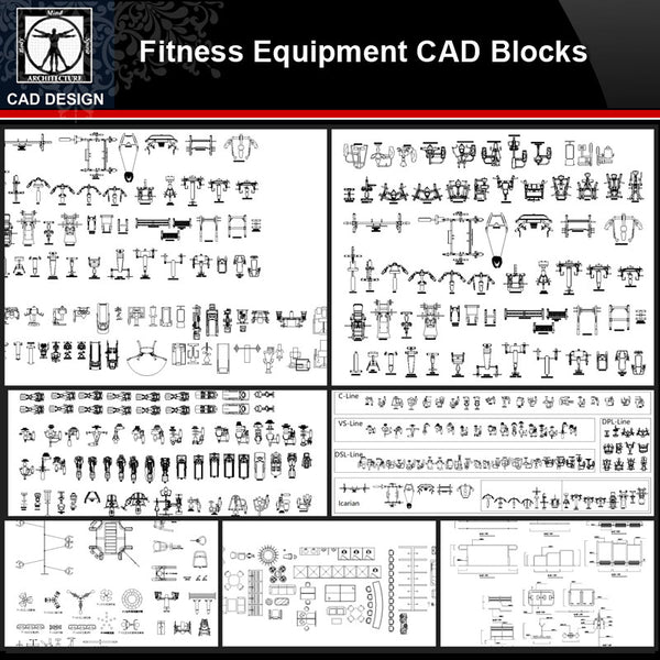 ★【Fitness Equipment Autocad Blocks】All kinds of Fitness Equipment CAD Blocks Bundle