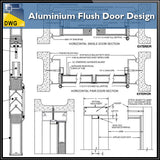 Aluminium Flush Door Design - CAD Design | Download CAD Drawings | AutoCAD Blocks | AutoCAD Symbols | CAD Drawings | Architecture Details│Landscape Details | See more about AutoCAD, Cad Drawing and Architecture Details