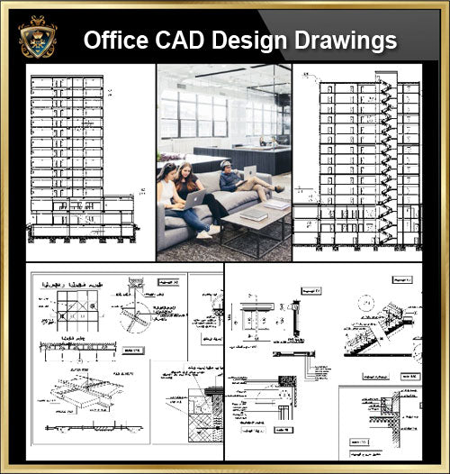 ★【Office, Commercial building, mixed business building CAD Design Project V.13】@Autocad Blocks,Drawings,CAD Details,Elevation