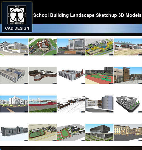 【Sketchup 3D Models】20 Types of School Design Sketchup 3D Models  V.6 - CAD Design | Download CAD Drawings | AutoCAD Blocks | AutoCAD Symbols | CAD Drawings | Architecture Details│Landscape Details | See more about AutoCAD, Cad Drawing and Architecture Details