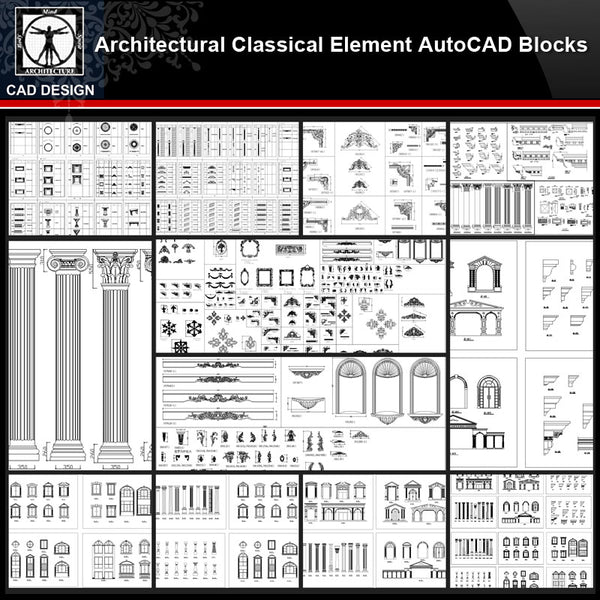 ★【Architectural Classical Element Autocad Blocks V.2】All kinds of architecture decorations CAD blocks Bundle