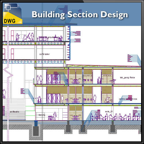 Building Section design - CAD Design | Download CAD Drawings | AutoCAD Blocks | AutoCAD Symbols | CAD Drawings | Architecture Details│Landscape Details | See more about AutoCAD, Cad Drawing and Architecture Details