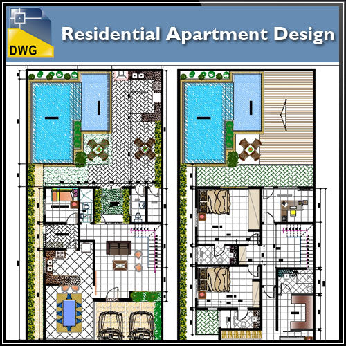 Residential Apartment Design - CAD Design | Download CAD Drawings | AutoCAD Blocks | AutoCAD Symbols | CAD Drawings | Architecture Details│Landscape Details | See more about AutoCAD, Cad Drawing and Architecture Details