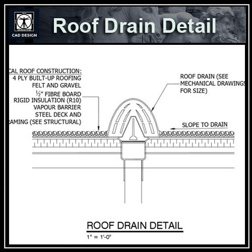 Free CAD Details-Roof Drain Detail - CAD Design | Download CAD Drawings | AutoCAD Blocks | AutoCAD Symbols | CAD Drawings | Architecture Details│Landscape Details | See more about AutoCAD, Cad Drawing and Architecture Details