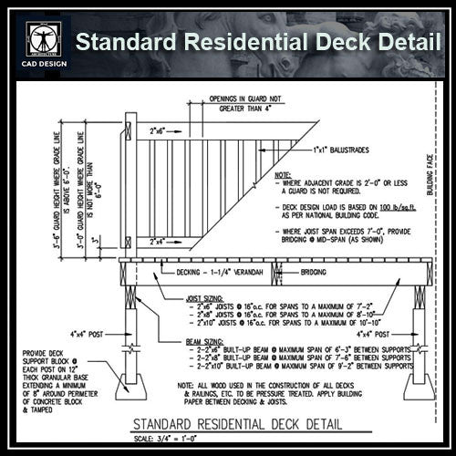 Free CAD Details-Standard Residential Deck Detail - CAD Design | Download CAD Drawings | AutoCAD Blocks | AutoCAD Symbols | CAD Drawings | Architecture Details│Landscape Details | See more about AutoCAD, Cad Drawing and Architecture Details