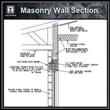 Free CAD Details-Masonry Wall Section - CAD Design | Download CAD Drawings | AutoCAD Blocks | AutoCAD Symbols | CAD Drawings | Architecture Details│Landscape Details | See more about AutoCAD, Cad Drawing and Architecture Details