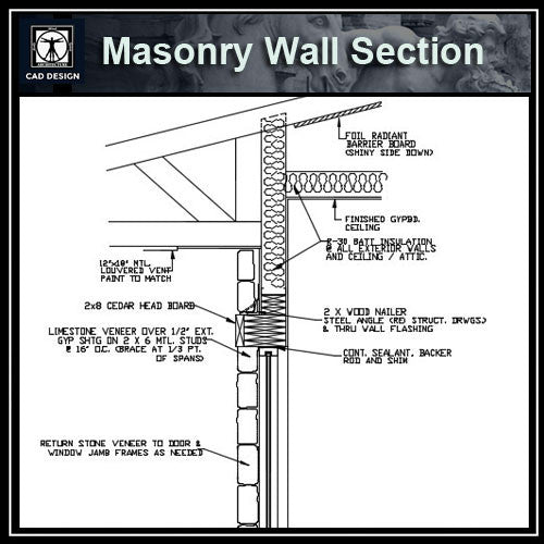 Free CAD Details-Masonry Wall Section