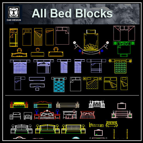 All Beds Blocks - CAD Design | Download CAD Drawings | AutoCAD Blocks | AutoCAD Symbols | CAD Drawings | Architecture Details│Landscape Details | See more about AutoCAD, Cad Drawing and Architecture Details