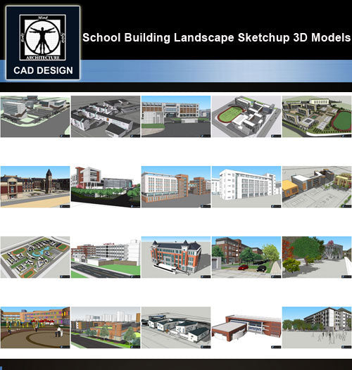 【Sketchup 3D Models】20 Types of School Design Sketchup 3D Models  V.5 - CAD Design | Download CAD Drawings | AutoCAD Blocks | AutoCAD Symbols | CAD Drawings | Architecture Details│Landscape Details | See more about AutoCAD, Cad Drawing and Architecture Details