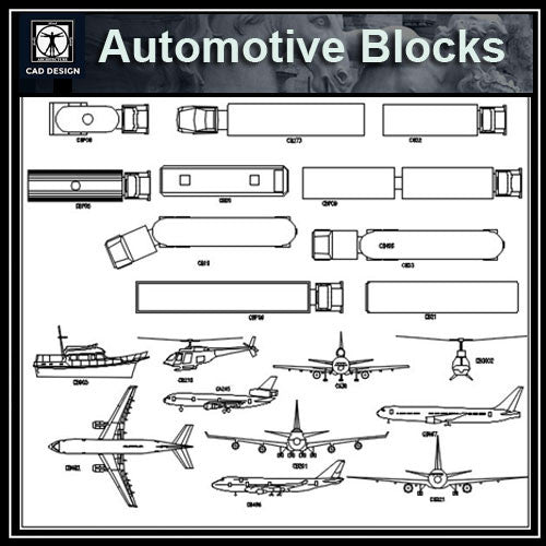 Automobile-Airplane-Truck Blocks - CAD Design | Download CAD Drawings | AutoCAD Blocks | AutoCAD Symbols | CAD Drawings | Architecture Details│Landscape Details | See more about AutoCAD, Cad Drawing and Architecture Details