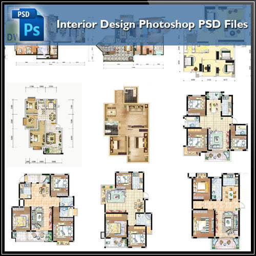 15 Types Of Interior Design Layouts Photoshop PSD Template V1