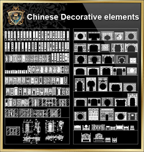 Over 500+ Chinese Decorative elements-Frame,Pattern,Border,Door,Windows,Roof,Lattice,Carved Wood - CAD Design | Download CAD Drawings | AutoCAD Blocks | AutoCAD Symbols | CAD Drawings | Architecture Details│Landscape Details | See more about AutoCAD, Cad Drawing and Architecture Details