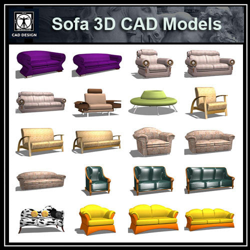Sofa 3D Cad Models - CAD Design | Download CAD Drawings | AutoCAD Blocks | AutoCAD Symbols | CAD Drawings | Architecture Details│Landscape Details | See more about AutoCAD, Cad Drawing and Architecture Details