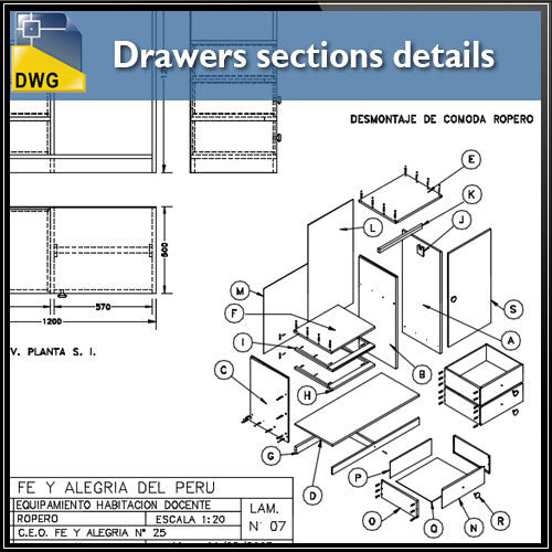 Drawers sections detail in autocad dwg files
