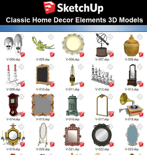 【Sketchup 3D Models】32 Types of Home Decor Elements Sketchup models V.1 - CAD Design | Download CAD Drawings | AutoCAD Blocks | AutoCAD Symbols | CAD Drawings | Architecture Details│Landscape Details | See more about AutoCAD, Cad Drawing and Architecture Details