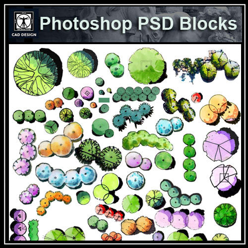Hand-painted PSD Landscape Blocks 2 - CAD Design | Download CAD Drawings | AutoCAD Blocks | AutoCAD Symbols | CAD Drawings | Architecture Details│Landscape Details | See more about AutoCAD, Cad Drawing and Architecture Details