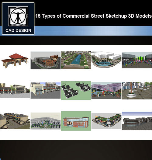 【Sketchup 3D Models】15 Types of Commercial Street Design Sketchup 3D Models  V.4 - CAD Design | Download CAD Drawings | AutoCAD Blocks | AutoCAD Symbols | CAD Drawings | Architecture Details│Landscape Details | See more about AutoCAD, Cad Drawing and Architecture Details