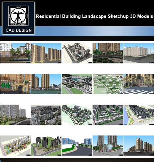 【Sketchup 3D Models】20 Types of Residential Building Landscape Sketchup 3D Models  V.5 - CAD Design | Download CAD Drawings | AutoCAD Blocks | AutoCAD Symbols | CAD Drawings | Architecture Details│Landscape Details | See more about AutoCAD, Cad Drawing and Architecture Details
